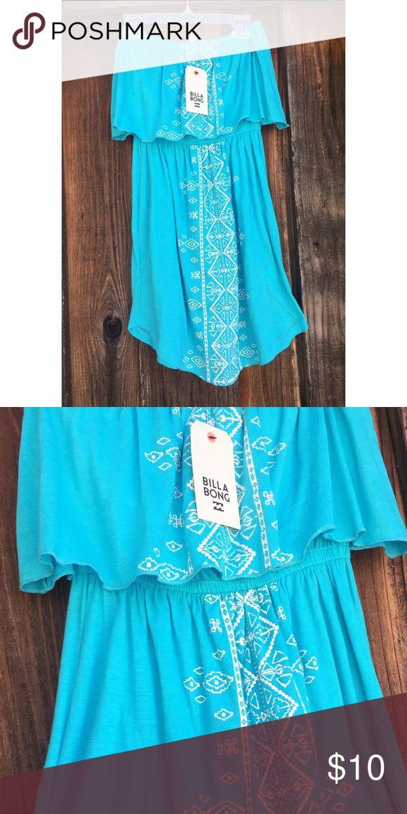 Billabong Petite Dress Billabong very petite dress, teal with Aztec detailing. Scalloped top. Made for very small women or tall children Billabong Dresses Mini