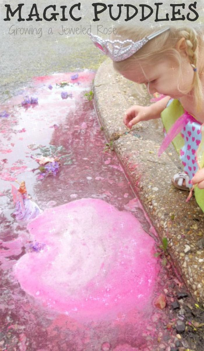 Magical rainy day puddle play: rainy day activity for kids that explores sensory play, art, science, imaginative play, and more!