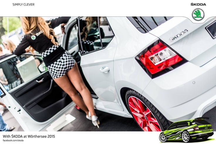 Meet sporty ŠKODA Fabia with design package. The vehicle is finished in moon-white, with grey-red stripes running over the bonnet, roof and boot