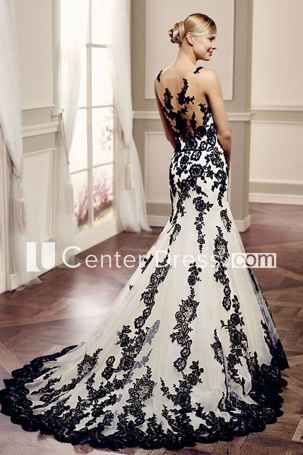 $204.29-Mermaid Appliqued Sleeveless Lace Black and White Wedding Dress With Illusion Back. http://www.ucenterdress.com/mermaid-floor-length-bateau-appliqued-sleeveless-lace-wedding-dress-with-illusion-back-and-court-train-pMK_705804.html.  Free Custom-made & Free Shipping! Shop lace wedding dress, strapless wedding dress, backless wedding dress, with sleeves, mermaid wedding dress, plus size wedding dress, We have great 2016 best Wedding Dresses on sale at #UcenterDress.com today! #wedding