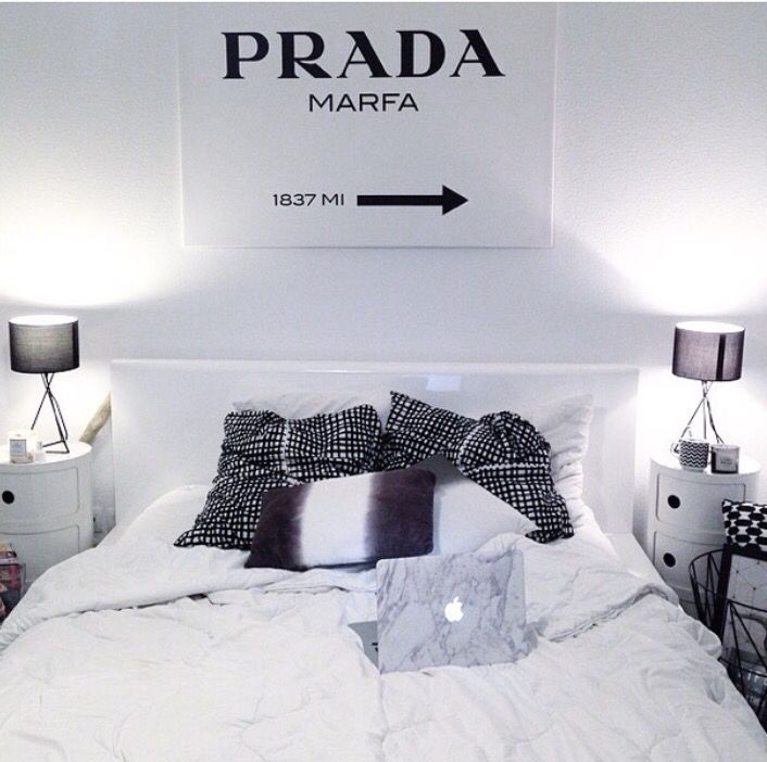 @boho_addict - Black And White Scandinavian Bedroom - Prada Marfa Wall Art - Marble MacBook