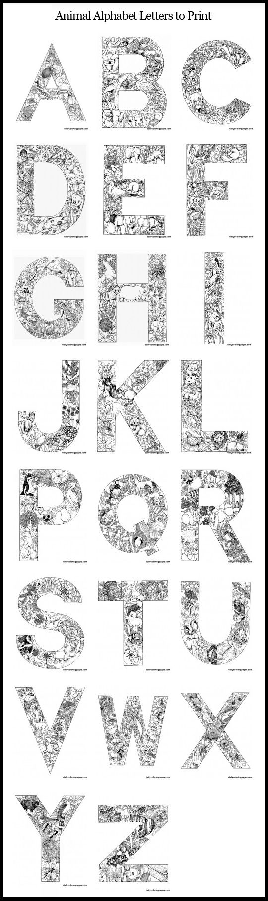 animal alphabet letters to print free printable coloring pages