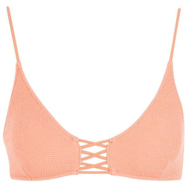 Topshop Shirred Cropped Bikini Top ($21) ❤ liked on Polyvore featuring swimwear, bikinis, bikini tops, coral, swimsuit crop top, ruched bikini, crop bikini top, topshop swimwear and crop bikini