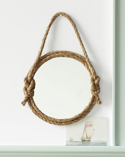 Rope Mirror DIY from http://www.marthastewart.com/375750/rope-mirror-how via Decor Hacks (this Apt Therapy post just had a bigger image than either of those). I really like the knotted hanger.