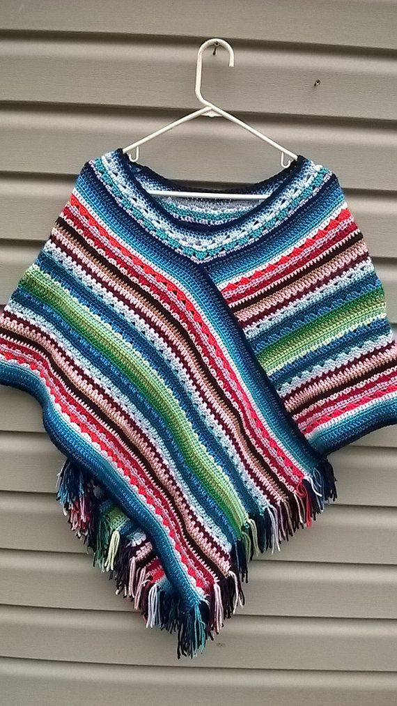 Crocheted Mexican Poncho by TwineandSwirl on Etsy