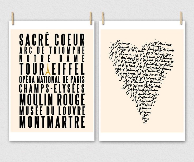 SAVE - My French Collection TWO Prints : Paris City of Love PLUS Je Taime (in Cream and Black). $30.00, via Etsy.