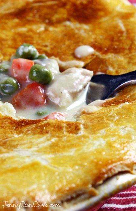 Chicken Pot Pie Recipe from Jenny Jones (JennyCanCook.com) - All from scratch - no cream or butter anywhere. Start to finish - One hour! #JennyCanCook