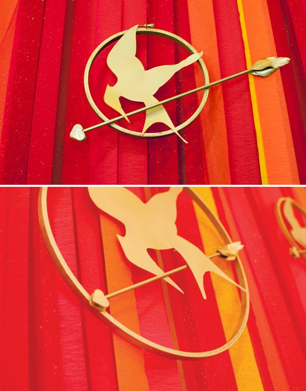 Crepe Paper and Tulle Backdrop with embroidery hoop MockingJay Pins #hungergames #party
