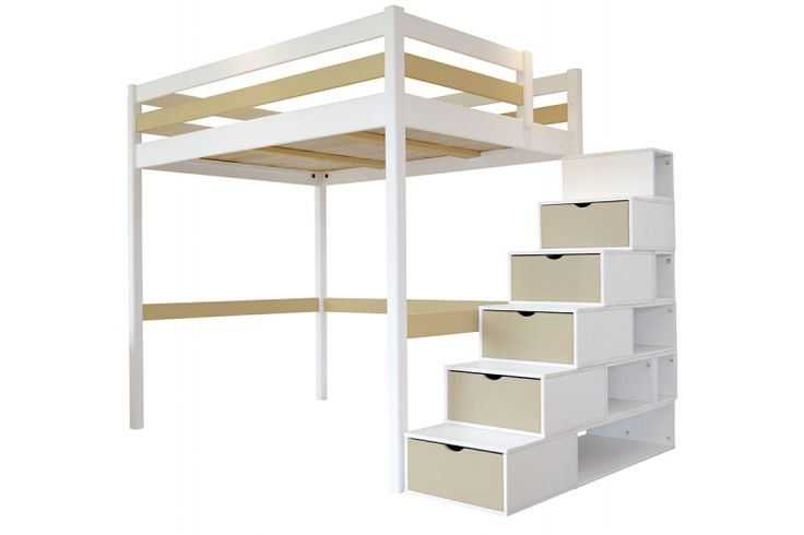 Lit Mezzanine Sylvia avec escalier cube bois Abc-meubles.com