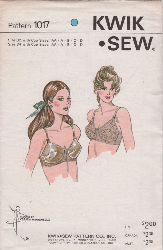 Kwik Sew 1017 1980s Misses Designer Bra Pattern Womens Vintage Sewing Pattern Size 32 AA - 34 D Uncut. $18.00, via Etsy.