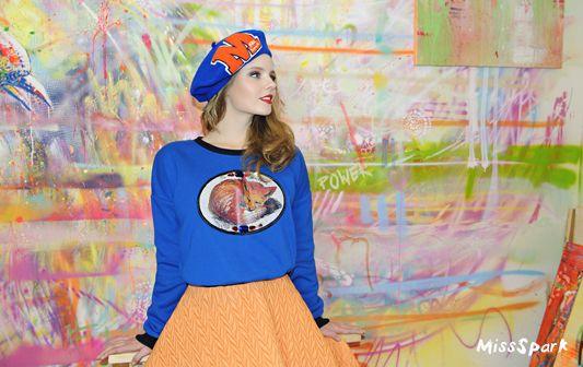 Olga Kalicka for MissSpark. Photo/Fashion/Styling:  Agnieszka Iskierka. Cute, kawaii. Love, Fox, Foxes. Blue FOX Sweatshirt &, Beret available online: shop.missspark.com.