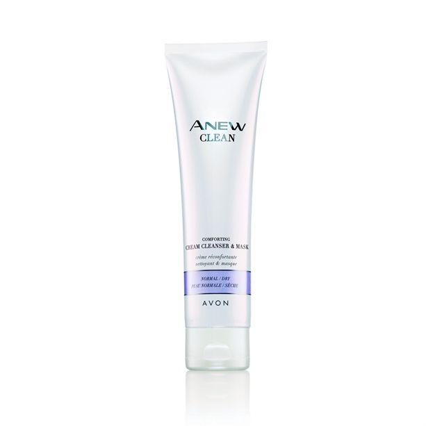 Az AVON Anew Cleanse krémes állagú arctisztító és arcmaszk segít csökkenteni a száraz bőr tüneteit.