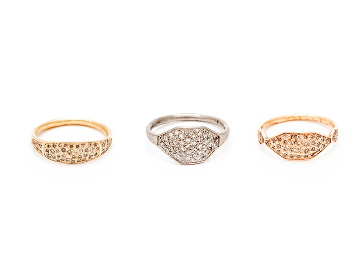 Rings by Suzi Zutic (From left to right: 18ct yellow gold and champagne diamonds, 18ct white gold and white diamonds, 18ct rose gold and champagne diamonds)