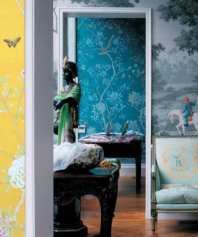 love this blue bird wallpaper (inside linen closet or for headboard)