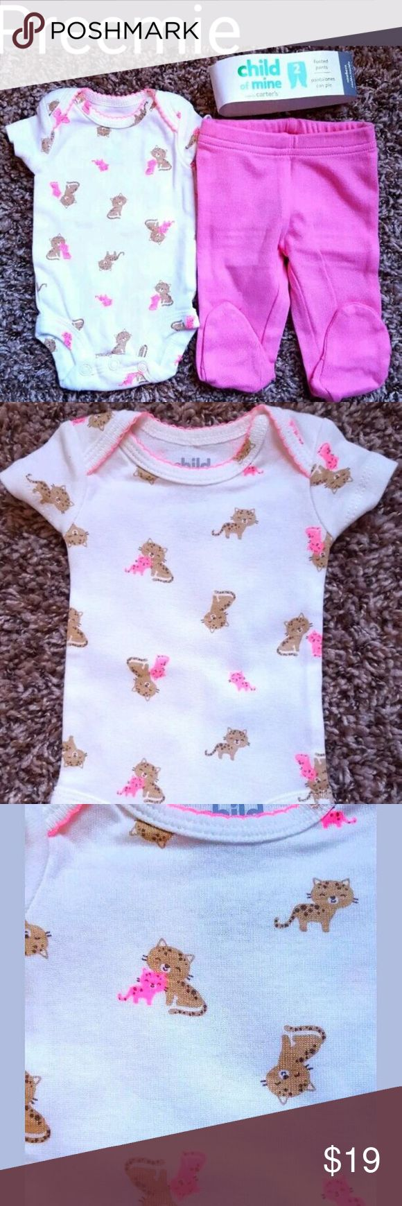 Girl's Sz Preemie NWOT Carter's Kitten Top, Pants Item Inv # Psh-14,15,16   Girl's Two Piece Outfit    -White/ Pink/ Tan Kitten Designed Top     -Solid Pink Footed Pants   By Child Of Mine Carter's     Size - Preemie     New Out Of Package.  Removed from sets to pair as an outfit so does not come with the packaging.  Items have been gently washed.   First photo shows what will come in your shipment as I have included what packaging I could from the separated sets.  This outfit will come with…