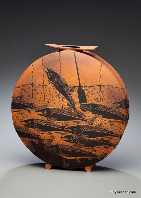 Running the gauntlet slab vase- Judy Weeden, Saltspring Island, Canada