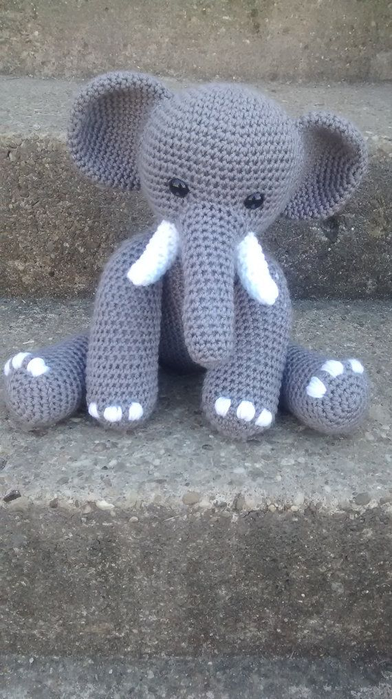 Elliot the grey elephant crochet pattern by OutoftheBarnCrochet