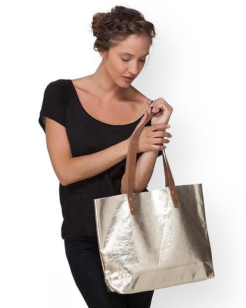 Large gold leather tote, $199.41 from #LeahLerner #Etsy