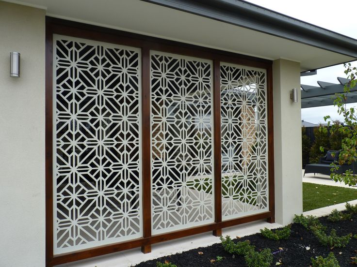 A gorgeous installation of the QAQ decorative screen design 'Washington' cut in mild steel.