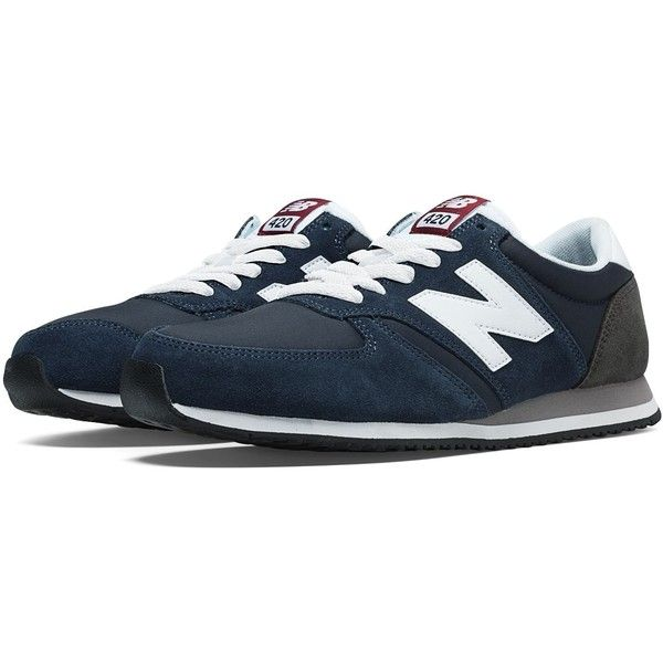 New Balance 420 70s Running Men's Running Classics Shoes ($60) ❤ liked on Polyvore featuring men's fashion, men's shoes, shoes, mens navy shoes, navy blue mens shoes, mens shoes and new balance mens shoes