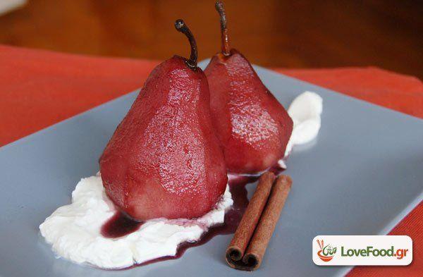 Αχλάδια ποσέ σε κόκκινο κρασί, αμάρτησα. συνταγή από το loveFood. Δείτε και δοκιμάστε Συνταγές Μαγειρικής που αγαπάμε!