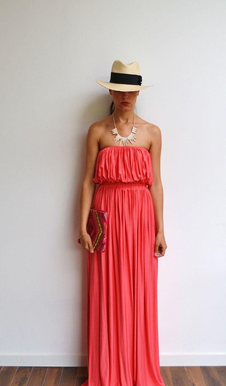 Maxi robe longue corail bustier en jersey et maxi dress fluide tendance été style hippie chic et bohème : Robe par menina-for-mathis