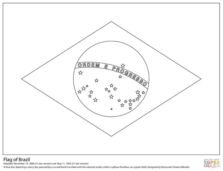 Brazil Flag Coloring Page   Flag coloring pages, Brazil ...