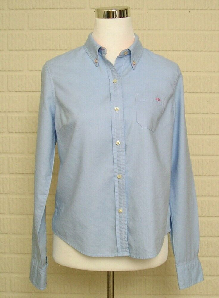 4e4e9c04 Womens American Eagle Button Down Shirt Blue Fitted Sz 10 AE Classic Fit  #AmericanEagleOutfitters #Blouse