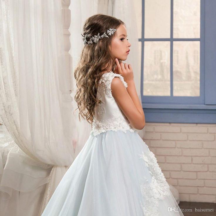 Long Flower Girls Dresses For Girls Glitz Lace Train Beautiful Ball Gown Puffy Kids Prom Dress Children Graduation Gown