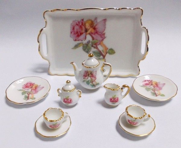 Reutter Porzellan Germany Tea Set With Tray Flower