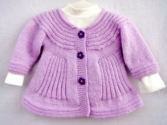 L ilacpurple  Handknit Baby Coat Light Purple Knitted Girl by VessCrafts, $36.50