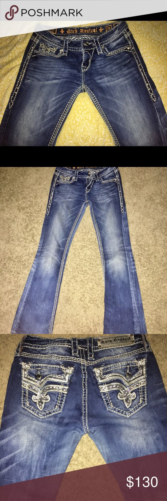 Rock Revival jeans Rock Revival women's jeans, medium wash, boot cut, rhinestone front & back. Only worn a couple times, no rips, excellent condition. 29 inch inseam! Great buy! Rock Revival Jeans Boot Cut
