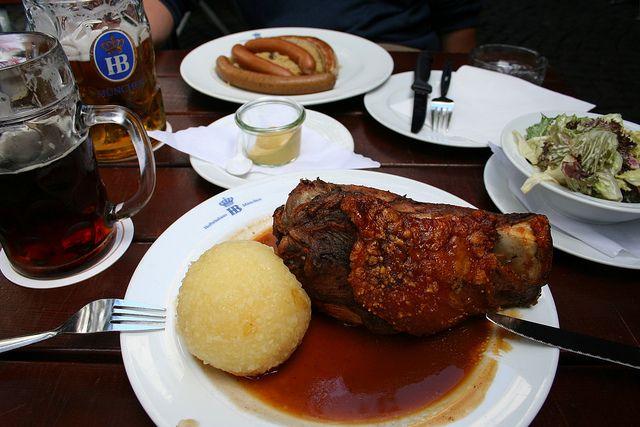 Pork knuckle, sausages and beer, Hofbrauhaus, Munich, Bavaria, Germany