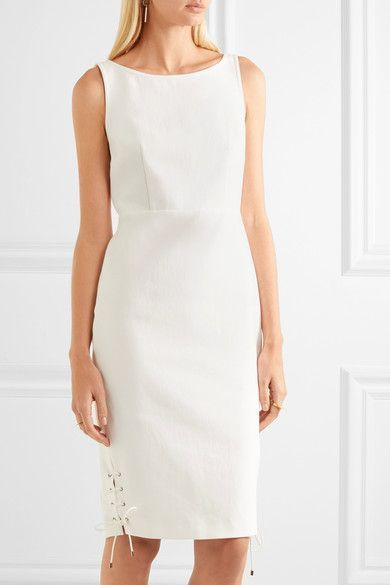 Max Mara - Lace-up Cotton-twill Dress - Ivory - UK16