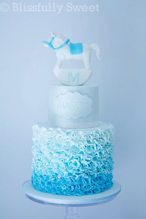 Blue Ombre Ruffle Cake This Is A Different Style Of