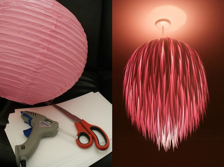 Cut out strips of paper in icicle (long triangle) shapes and attach them to a rice paper lamp with a glue gun