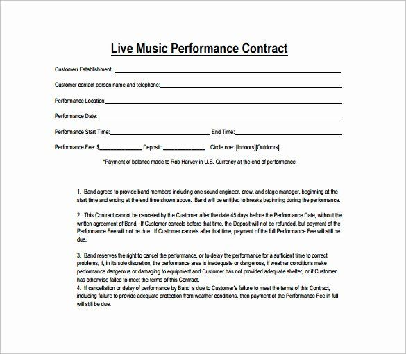 Music Performance Contract Template New Performance Contract Template 14 Download Free Contract Template Rental Agreement Templates Music Performance