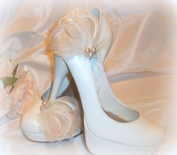 Bridal Shoe Clips - Champagne,  Ivory, White or Black Feathered Shoe Clips -  wedding shoe clips on Etsy, $42.16 AUD