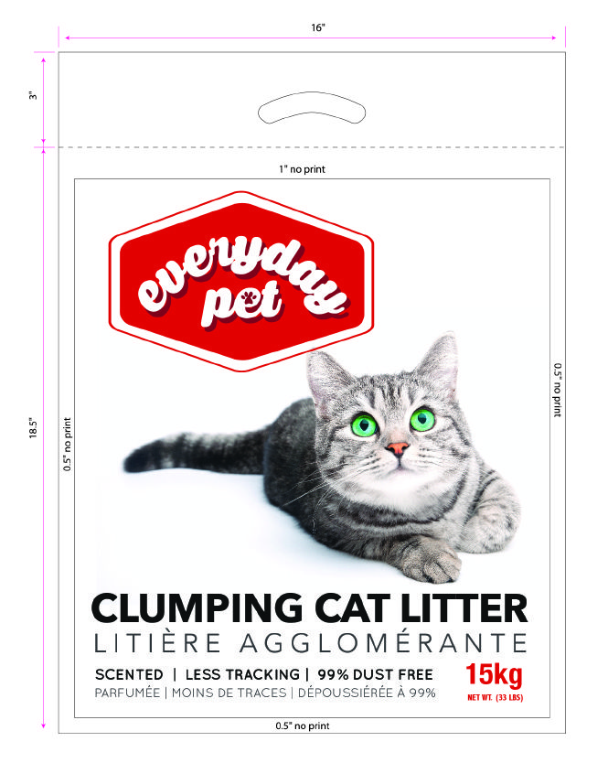 Cat litter packaging.