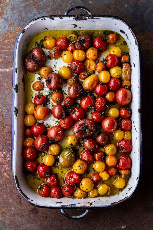 {Garlic and herb-roasted cherry tomato carbonara with crispy prosciutto and burrata.}