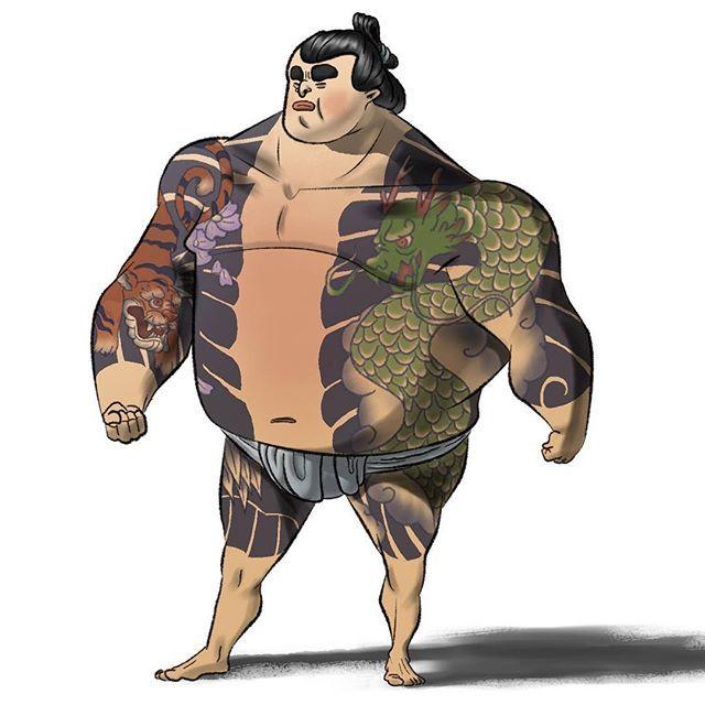 【noahnoahdraws】さんのInstagramをピンしています。 《Yakima Sumo . . . . . #japanesetattoos #tattoo #japanesedragontattoo #dragon #japanesetiger #body #guard #bodyguard #sumo #wrestler #sumowrestler #yakuzatattoo #yakuza #characterdesigns #sketchdaily #digitalillustration #digitalpaint #happysundayeveryone #cherryblossoms》