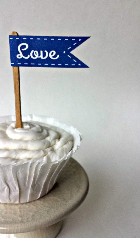 Love Paper Cupcake Flag  Navy Flag  Wedding and by pfconfections