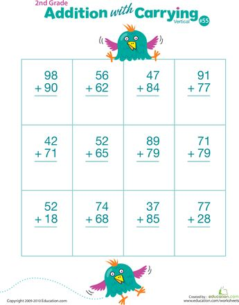 Worksheets: Double Digits! Practice Vertical Addition with Carrying 55