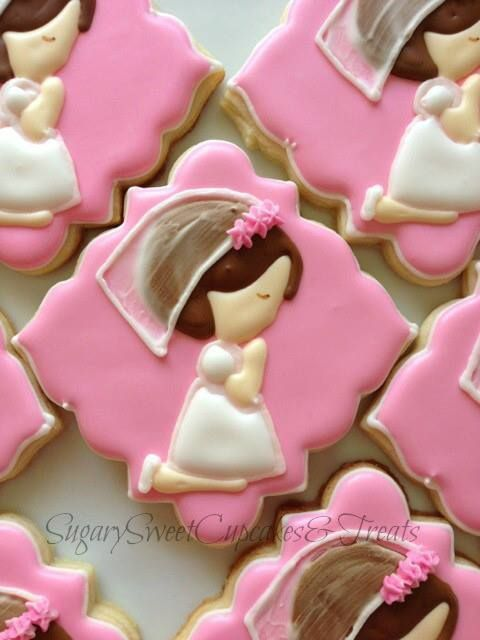 """These sweet """"Praying Girl"""" cookies are perfect for an upcoming Baptism or Holy First Communion.Cookies are hand crafted just for your special occasion!They are carefully hand decorated.Each cookie measures approximately 4 inches and come individually sealed and wrapped for max protection."""