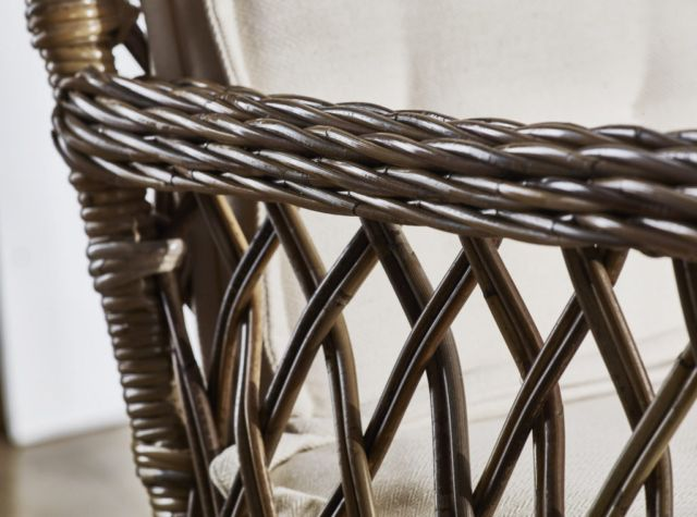 Like most of the Wickerworks collection, the feature that really makes the Marquis chair stand out from the rest is its weave. Being the only one to feature open diamond shaping, the only one that's almost throne-like, and the only one to go for double cushion comfort, the Marquis is a surefire statement wherever it's placed.