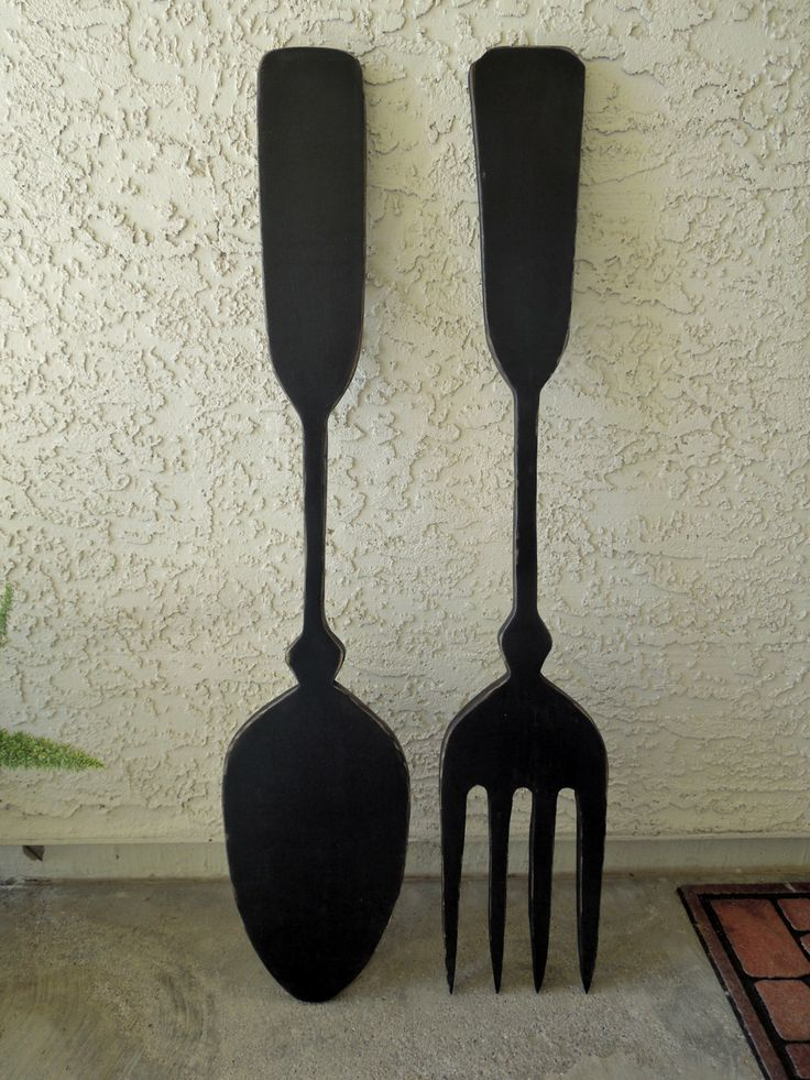 big wood spoon and fork wall decor for your kitchen by. Black Bedroom Furniture Sets. Home Design Ideas