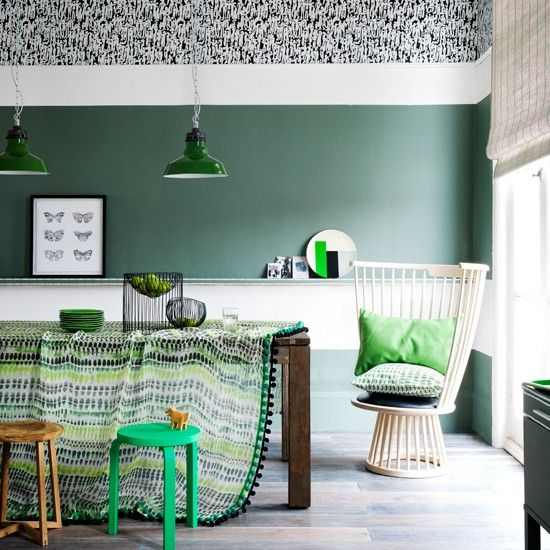 Green and white patterned dining room | Dining room decorating ideas | Livingetc | Housetohome.co.uk