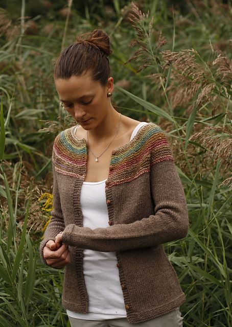 Noro used for the yoke. Pattern : #22 Garter Yoke Cardigan by Melissa LaBarre