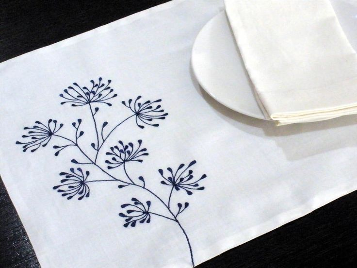 White Linen Placemats with Ixora flower embroidery in Navy Blue. The placemat made from 2 layer white linen fabric and measures 14 x 18. This listing is for 4 pieces placemats without napkin.  More placemats and table runners are available here https://www.etsy.com/shop/KainKain?section_id=5815163&ref=shopsection_leftnav_10  These placemats are MADE TO ORDER. Please allow up to 2 WEEKS from the time you place your order for production of your placemats. Your placemats are ready to ship to…