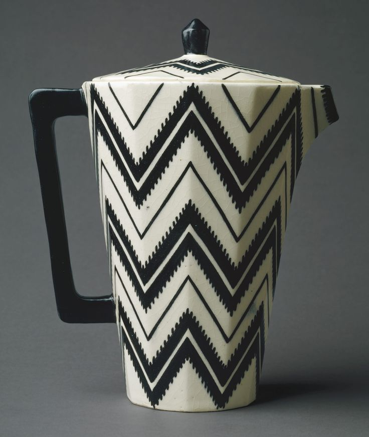 Coffee Pot by Pavel Janák (Czech, 1882–1956). Date: ca. 1912.  Manufacturer: Werkstätte Artel. Medium: Earthenware, ceramics. Who: Janák utilised geometric patterning which was synonymous with Czech Cubism. The movement and with it Janák, aimed to add a controversial element to contemporary designs of the time.  Reference: The Metropolitan Museum of Art. 2000. Coffee Pot. Heilbrunn Timeline of Art History. [Online]. Available: http://www.metmuseum.org/toah/works-of-art/2000.173a,b/